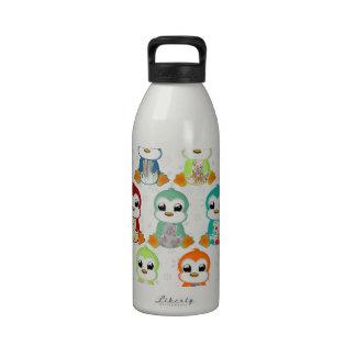 Cute beautiful colourful penguins flowers water bottle