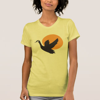 Cute Beautiful Flying Goose Bird and Sunset T-shirt