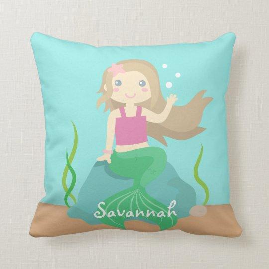 Cute Beautiful Mermaid Under The Sea Room Decor Throw Pillow