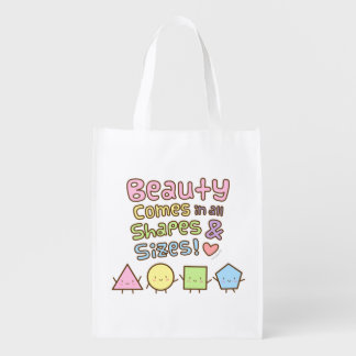 Cute Beauty Come in All Shapes and Sizes Quote Grocery Bag