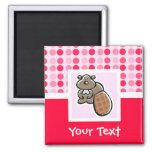 Cute Beaver 2 Inch Square Magnet