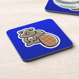 Cute Beaver; Blue Beverage Coaster