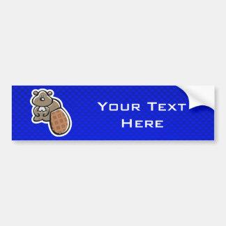 Cute Beaver; Blue Bumper Sticker