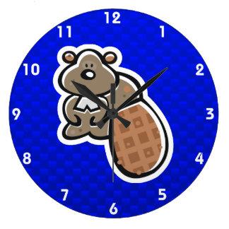 Cute Beaver; Blue Large Clock