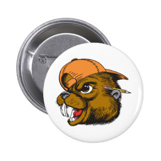 Cute Beaver Pinback Button