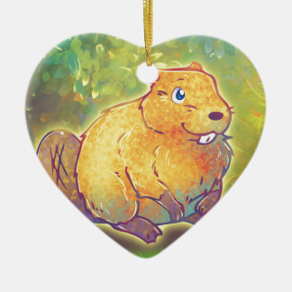 Cute Beaver Ceramic Ornament