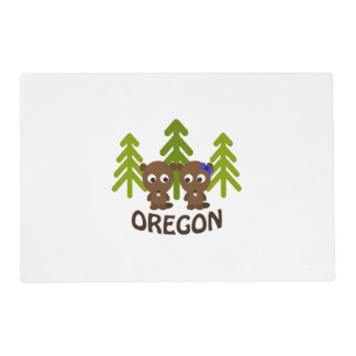 Cute Beaver Couple Oregon Placemat