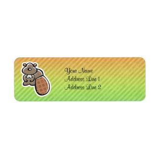 Cute Beaver Design Label