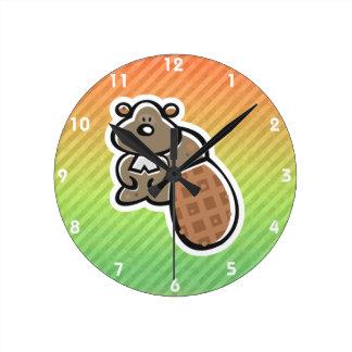Cute Beaver Design Round Clock