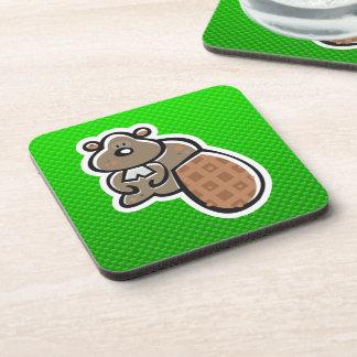 Cute Beaver; Green Beverage Coaster
