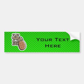 Cute Beaver; Green Bumper Sticker