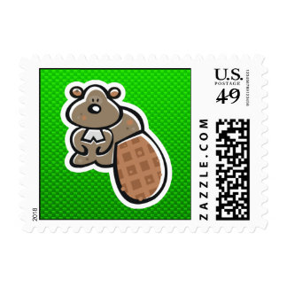 Cute Beaver; Green Postage