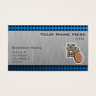 Cute Beaver; Metal-look Business Card