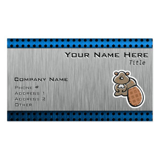 Cute Beaver; Metal-look Double-Sided Standard Business Cards (Pack Of 100)