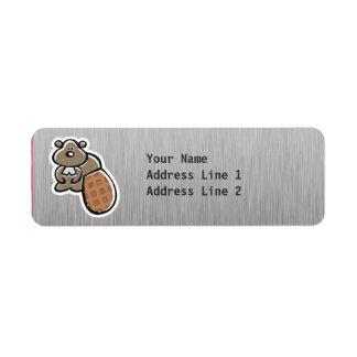 Cute Beaver; Metal-look Label