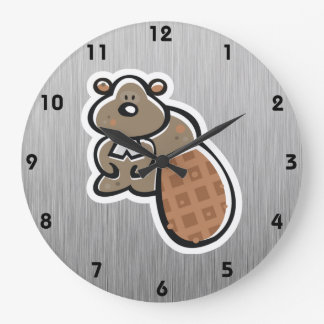 Cute Beaver; Metal-look Large Clock