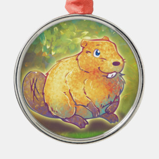 Cute Beaver Metal Ornament