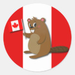 Cute Beaver on Red and White Background Classic Round Sticker