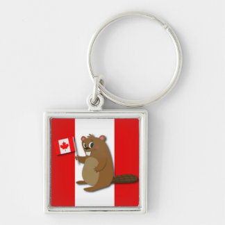 Cute Beaver on Red and White Background Silver-Colored Square Keychain