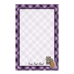 Cute Beaver; Purple Stationery