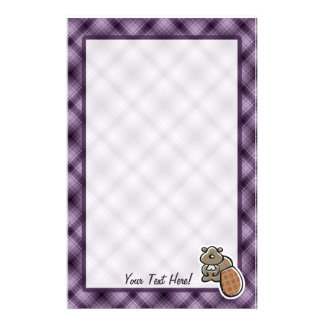 Cute Beaver; Purple Stationery