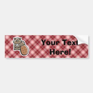 Cute Beaver; Red Plaid Bumper Sticker