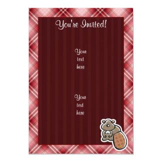 Cute Beaver; Red Plaid Card