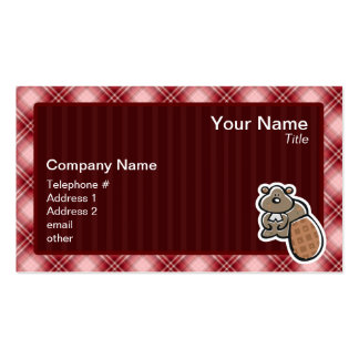 Cute Beaver; Red Plaid Double-Sided Standard Business Cards (Pack Of 100)
