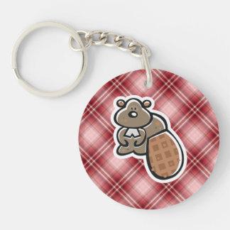 Cute Beaver; Red Plaid Keychains