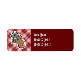 Cute Beaver; Red Plaid Label