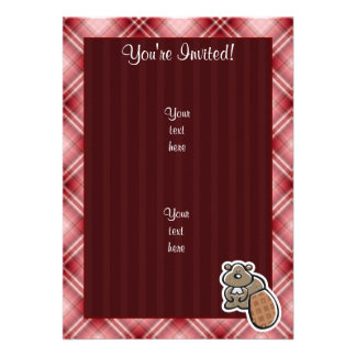 Cute Beaver; Red Plaid Personalized Invite