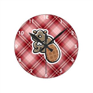 Cute Beaver; Red Plaid Round Clock