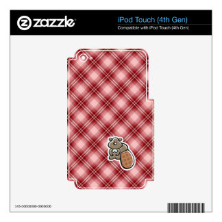 Cute Beaver; Red Plaid Skins For iPod Touch 4G