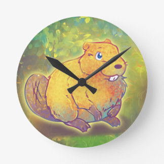 Cute Beaver Round Clock