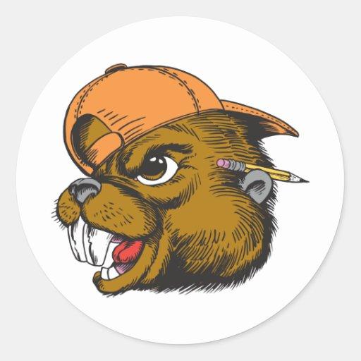 Cute Beaver Round Sticker