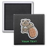 Cute Beaver; Sleek 2 Inch Square Magnet