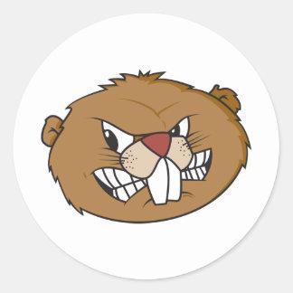 Cute Beaver Round Stickers