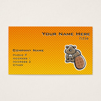 Cute Beaver; Yellow Orange Business Card