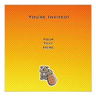 Cute Beaver; Yellow Orange Card