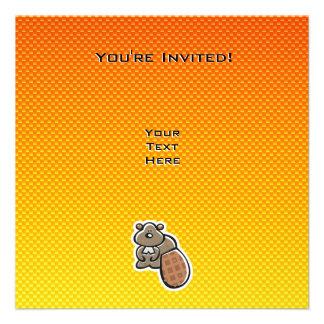 Cute Beaver Yellow Orange Invite