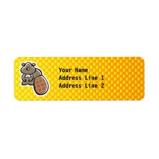 Cute Beaver; Yellow Orange Label