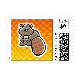 Cute Beaver; Yellow Orange Postage