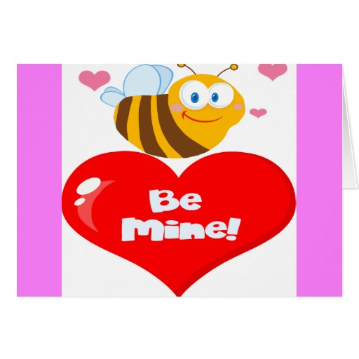 Cute Bee A Red Heart Greeting Card
