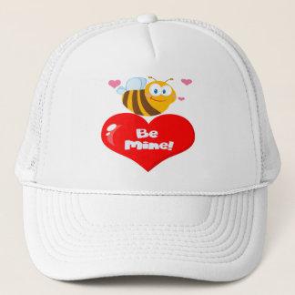 Cute Bee A Red Heart Trucker Hat