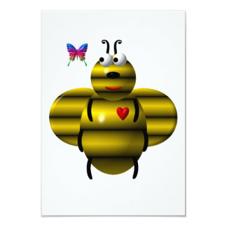 Cute bee and baby butterfly personalized invitations