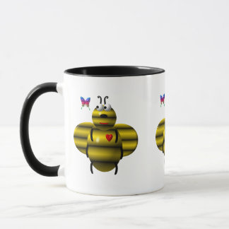 Cute bee and baby butterfly mug