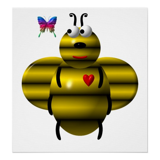 Cute bee and baby butterfly poster