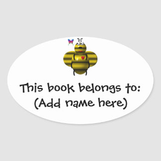 Cute bee and baby butterfly oval sticker