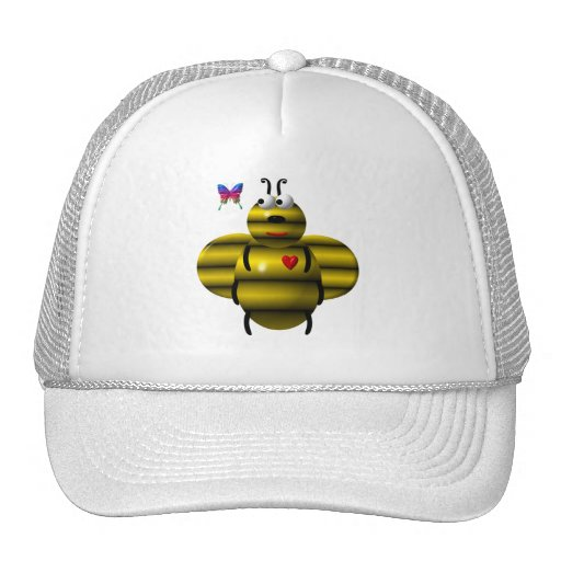 Cute bee and butterfly trucker hat