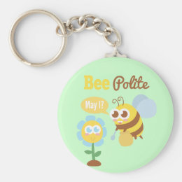Cute Bee and Flower Be Polite Puns Keychain